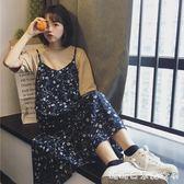 夏季女裝韓版甜美小清新吊帶裙中長款碎花雪紡洋裝寬鬆過膝裙子 糖糖日系森女屋