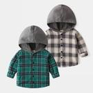 *╮小衣衫S13╭*男童潮款灰色帽子拼接格紋長袖襯衫1091207