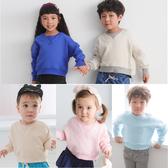刷毛長袖上衣 T恤 兒童 素面 厚T恤 男童 女童 百搭 Augelute 61162