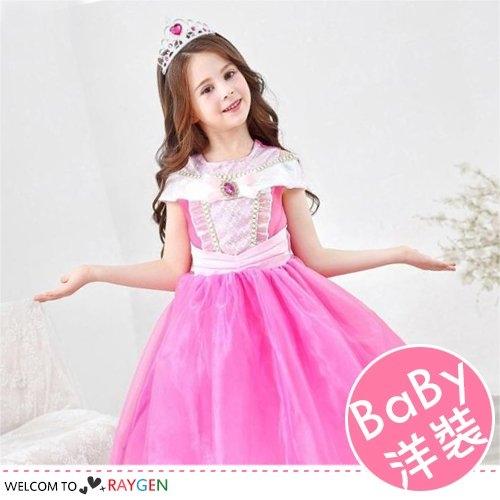 萬聖節女童閃亮粉色公主洋裝 表演服 皇冠 魔法棒 3件/組