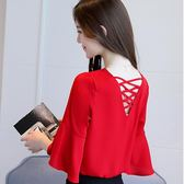 雪紡衫 短袖夏紅色露背小衫日韓V領上衣氣質喇叭袖超仙 森雅誠品