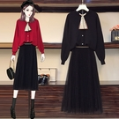 兩件式洋裝 M-3XL 大碼女裝秋冬新款...