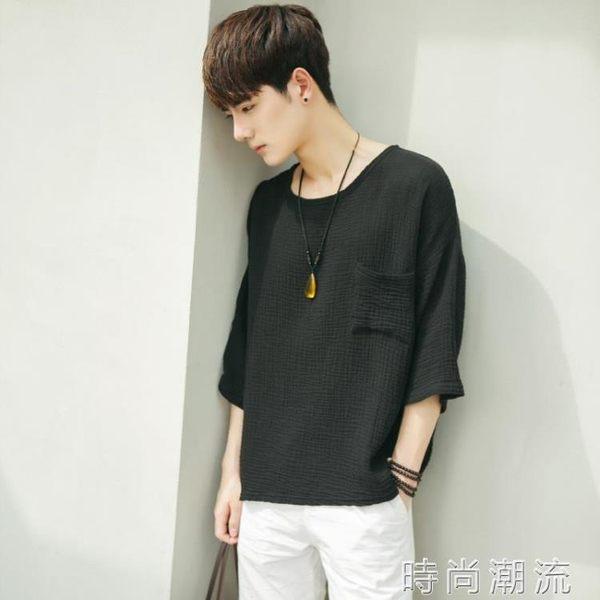 七分袖T恤日系寬鬆亞麻短袖t恤衫 夏季男士休閒棉麻個性體恤上衣 時尚潮流