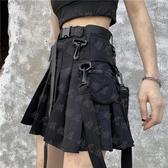 百褶裙 夏季韓版2020新款個性口袋工裝復古腰帶百搭高腰顯瘦百褶短裙女潮