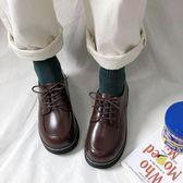 牛津鞋 秋冬復古小皮鞋女英倫風單鞋系帶休閒鞋學院風馬丁鞋學生鞋牛津鞋 CP1372【棉花糖伊人】