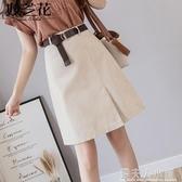 不規則夏季開叉時尚裙子短裙A字裙半身裙女春夏新款高腰顯瘦「錢夫人小鋪」