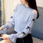 內搭衣蕾絲雪紡秋裝新款超仙網紗長袖打底上衣服洋氣 ic2356『毛菇小象』