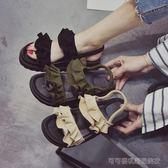 厚底涼鞋 涼鞋女夏韓版厚底中跟平底鬆糕木耳邊簡約平跟百搭學生鞋   Cocoa