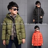 中大童外套 拉鍊式仿羽絨鋪棉連帽防風夾克大衣 FM15602 好娃娃