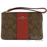 茱麗葉精品【均一價】COACH 58035 條紋 PVC 手拿包.駝/紅