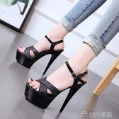 鋼管舞鞋 恨天高防水台 15cm/公分超高跟涼鞋 細跟女鞋水晶鞋 ciyo 黛雅