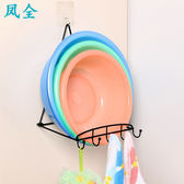 免打孔盆子掛鉤臉盆架衛生間浴室廁所墻壁掛置物架收納吸盤放盆架   夢曼森居家