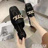 新款半拖鞋時尚外穿網紅拖鞋女粗跟穆勒半托單鞋包頭懶人涼拖