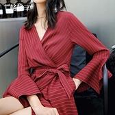 女神衣長袖紅色雪紡裙春裝女2021初春新款連身裙氣質女神范衣服chic裙子LX