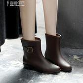 雨靴時尚高檔雨鞋女平底雨鞋水靴可加絨保暖中筒防滑雨靴防水雨鞋特價 奈斯女裝