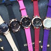 手錶 女學生chic星空水鉆透氣皮帶韓版簡約潮流休閒時尚防水石英表
