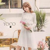 東京著衣【YOCO】優雅名媛蕾絲拼接造型洋裝-S.M.L(172007)