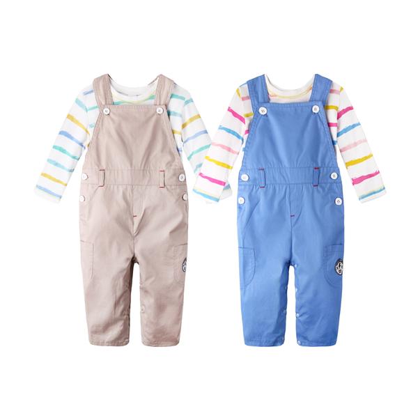 工作服 繽紛 條紋上衣 造型服 吊帶褲 男寶寶 女寶寶 2件套 Augelute Baby 60019