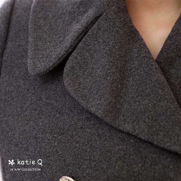 魅力風尚立體剪裁羊毛大衣(灰色)M-L【KatieQ】