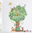 壁貼【橘果設計】樹屋 DIY組合壁貼 牆...