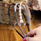 甜美韓版發飾布藝蝴蝶結頭箍水鑚小珍珠發卡細邊發箍盤頭髮飾品女「韓風物語」