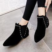 小短靴子 女冬秋季女裸靴百搭日韓學生加棉女鞋子 巴黎時尚