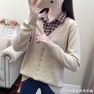 拼接上衣襯衫領假兩件毛衣女秋冬新款韓版寬鬆百搭外穿打底針織衫上 快速出貨