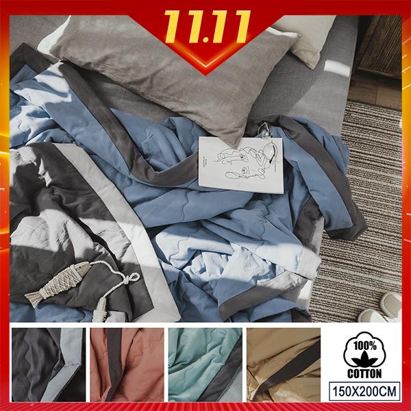 純棉涼被素織水洗撞色加寬包邊四季被 空調被【雙人5X6.5尺-多款任選】