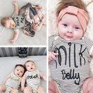 嬰兒三角爬服新款BABY條紋短袖連身衣包屁衣- 預購
