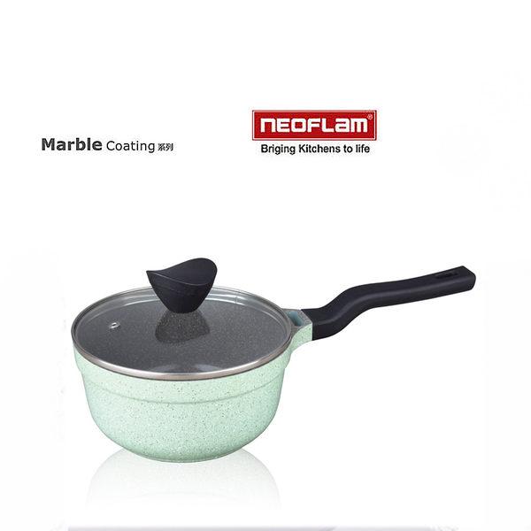 韓國[NEOFLAM] 18cm彩色岩礦系列不沾湯鍋+玻璃蓋 (電磁爐適用)