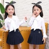女童洋氣襯衫2019新款兒童韓版白色小女孩秋季長袖時尚蝴蝶結上身