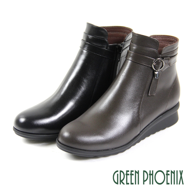 U15-20B59 女款全真皮小坡跟短靴  垂墜壓克力方鑽扭結全真皮小坡跟短靴【GREEN PHOENIX】