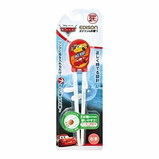 小禮堂 迪士尼 閃電麥坤 兒童學習筷 練習筷 兒童筷 塑膠筷 右手專用 (紅 賽車旗) 4544742-98370