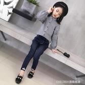 長袖套裝 女童新款時髦套裝韓版女中大童洋氣牛仔褲兒童兩件套 童趣潮品