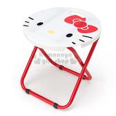 〔小禮堂〕Hello Kitty 折疊椅《紅白.大臉.圓型》可折疊收納.春夏野餐系列 4901610-02322
