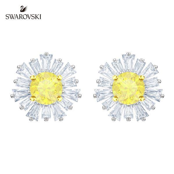 施華洛世奇 Sunshine 玫金色溫暖太陽黃鑽穿孔耳環