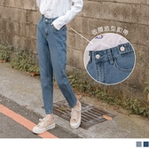 《BA5213》造型腰飾牛仔小男友褲/直筒長褲 OrangeBear