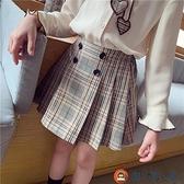 女童半身裙秋裝學院風格子百褶裙中大童短裙【淘夢屋】
