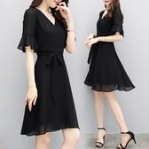 洋裝 韓版流行收腰氣質雪紡連身裙 降價兩天