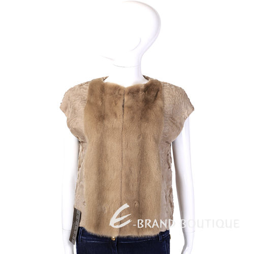 GRANDI furs 駝色皮草短袖小外套 1440005-02