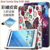 彩繪卡斯特 宏基 Acer Iconia One 8 B1-860 平板皮套 防摔 支架 自動吸附 超薄三折 插畫皮套 全包邊