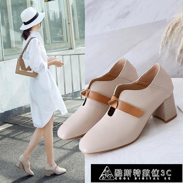 小皮鞋 女鞋新款爆款小皮鞋女工作鞋女黑色粗跟單鞋女韓版百搭高跟鞋 快速出貨