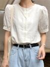設計感小眾短袖襯衫2021春夏新款法式小清新港風泡泡袖復古上衣女