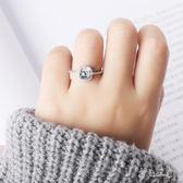 s925純銀日韓簡約氣質創意開口方形鋯石戒指tz7434【每日三C】