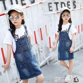 女童牛仔吊帶裙童裝新款夏裝韓版中大童洋氣裙子兒童洋裝潮 魔方數碼館