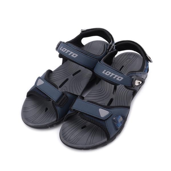 LOTTO 迷彩磁釦排水運動涼鞋 迷彩藍 LT1AMS3186 男鞋