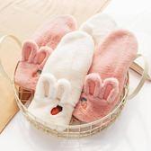 兔耳朵韓版學生手套冬天保暖加絨可愛甜美ins手套少女心加厚掛脖  科炫數位