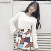 EASON SHOP(GU7614)小香風純色喇叭袖撞色圓領長袖T恤女上衣服寬鬆顯瘦內搭衫修身顯瘦M-2XL黑色白色