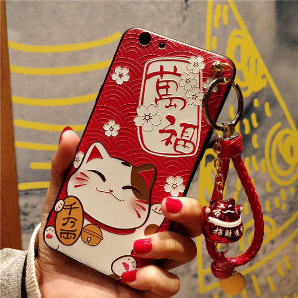 手機殼 鈴鐺招財貓iPhone6S手機殼軟浮雕蘋果X防摔保護套奢華8plus大紅7P 玩趣3C