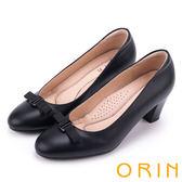 ORIN 復刻時尚 細織帶蝴蝶結蠟感羊皮粗跟鞋-黑色